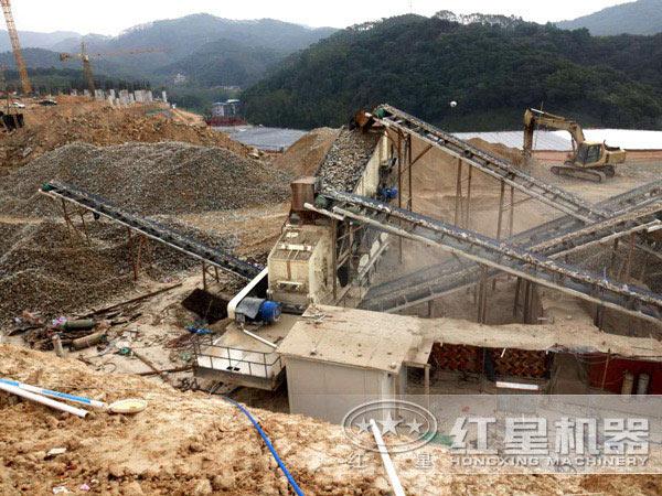 河南驻马店砂石厂作业现场拍摄